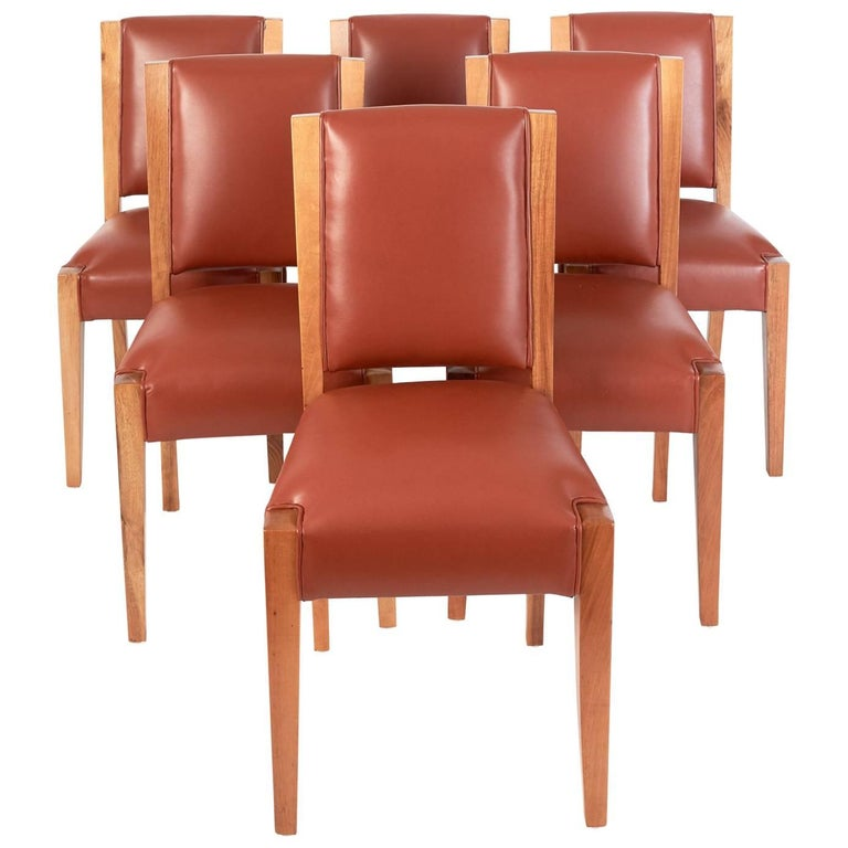 André Sornay, Important Set of Six Walnut & Leather Dining Chairs, France 1930's For Sale