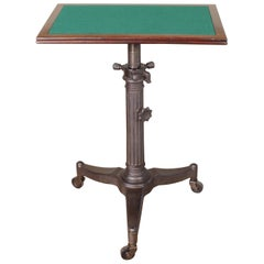 "Rolling Pedestal Table 1930s ""Karlo"" Typewriter Display Side End Cast Iron"