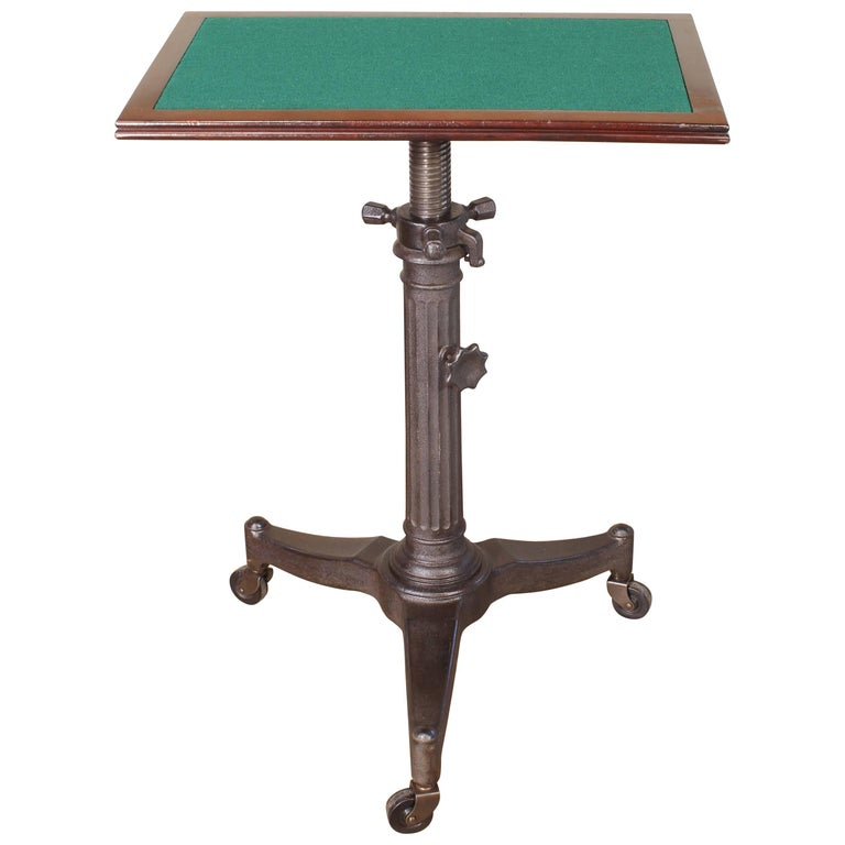 """Rolling Pedestal Table 1930s """"Karlo"""" Typewriter Display Side End Cast Iron For Sale"""