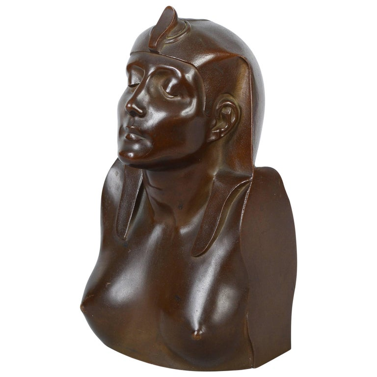 French Bronze Bust of Cleopatra, Late 19th Century