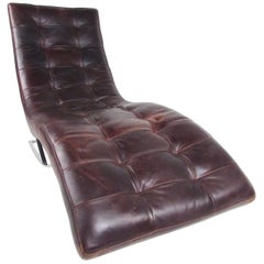 Modern Chaise Longue Chair in Brown Leather