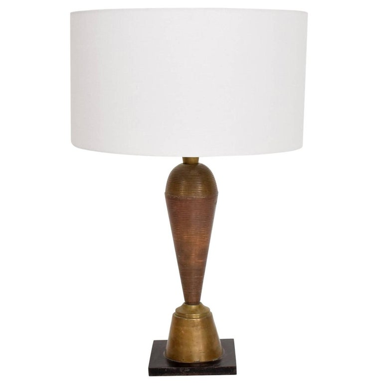 """1970s Table Lamp in Brass and Copper from the """"Hotel Presidente"""" Mexico City"""