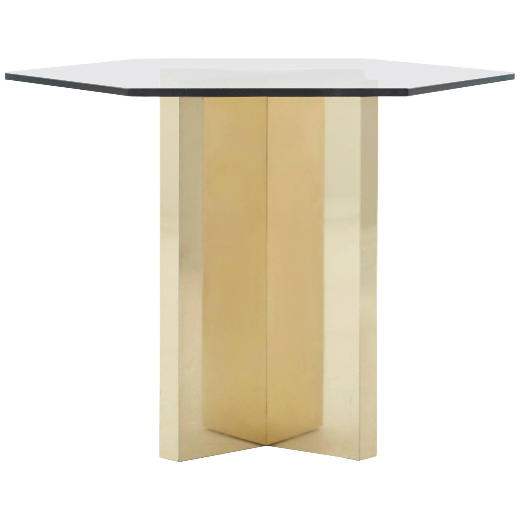 Brass Hexagon End Table For Sale