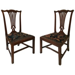 Mid-18th Century American Walnut Chippendale Chairs with Oushak Seats