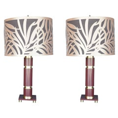Pair of Red Brass Table Lamps