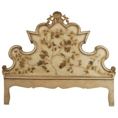 Italian Venetian Style 1950s Antique Cream Painted Shaped Headboard