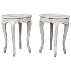 Pair of Provincial-Style Painted Garden Stools