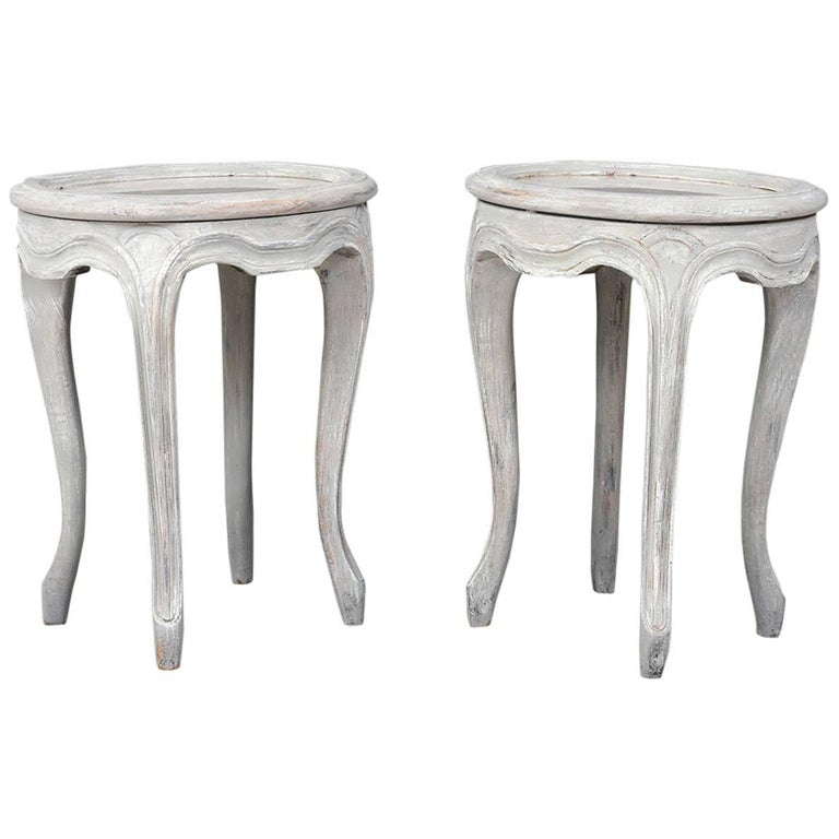 Pair of Provincial-Style Painted Garden Stools For Sale - Pair Of Provincial-Style Painted Garden Stools For Sale At 1stdibs