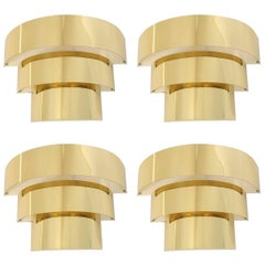 Four Cascade Brass Plated Wall Sconces, 1990s, USA