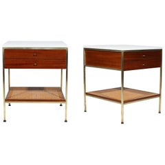 Pair of Paul McCobb Brass Nightstands