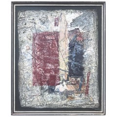 Textural 1950s Painting with Assemblage and Encaustic, L. Hussar