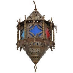 Moroccan Vintage Moorish Pierced Brass Hanging Lamp