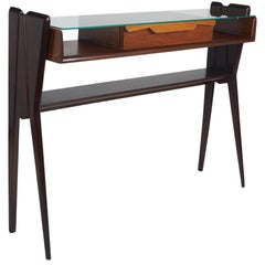 Ico Parisi Att., Biomorphic Three-Tone Rosewood and Glass Console, Italy 1950's
