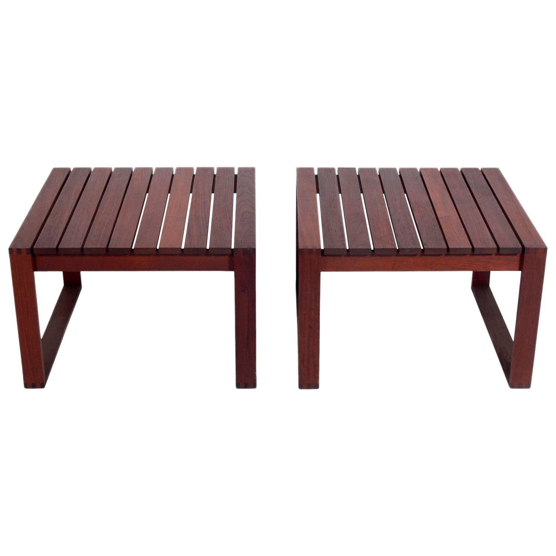 Pair of Danish Modern Teak Slat End Tables