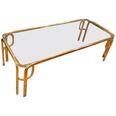 Hollywood Regency Brass and Smoked Glass Coffee Table