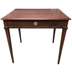French Louis XVI Carved Walnut Writing-Side Table with Drawer