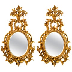 Pair of Fine Italian Gilt Wall or Console Beveled Mirrors with Two-Arm Sconces