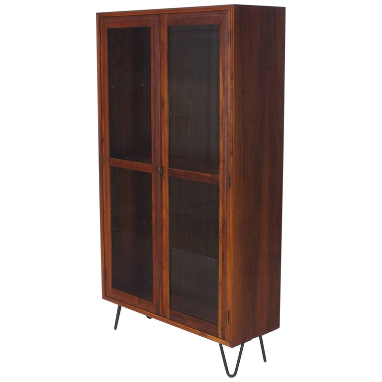 Mid Century Modern Tall Oiled Walnut Two Doors Beveled Glass Bookcase Cabinet For Sale