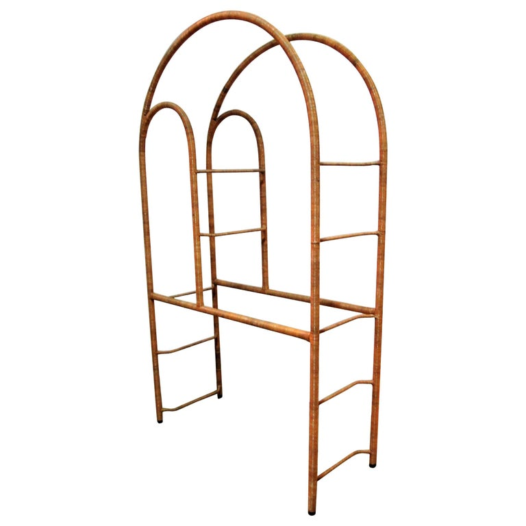 Wicker Etagere in the Style of Milo Baughman