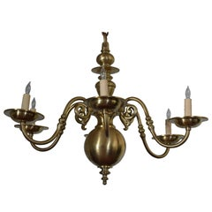 French Brass Six-Light Baroque Style Chandelier, UL Wired