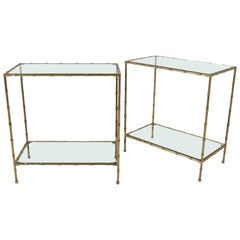 Pair of Faux Bamboo Brass Side Tables, France, 1950s