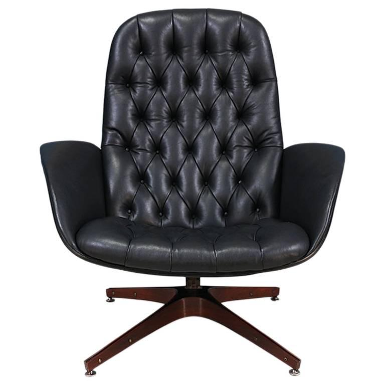 "George Mulhauser ""Mr. Chair"" Leather Swivel Chair for Plycraft"