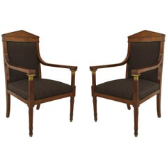Pair of French Empire Mahogany Open Armchairs, 19th Century