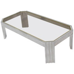 Aluminum Brass Glass Rectangular Coffee Table