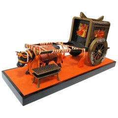 Japanese Decorative Ox Carriage Objects for Doll's Festival Hinamatsuri, 1950s