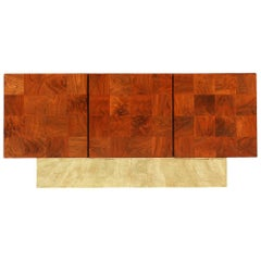 Milo Baughman Burl Walnut Credenza Raised on Brass Plinth for Thayer Coggin