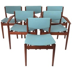 Finn Juhl Set of Six Scandinavian Modern Teak Dining Chairs, Denmark 1960's