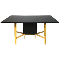 Mid-Century Modern Drop-Leaf Two-Tone Bentwood Dining Table