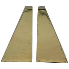 1960s Italian Brass Modern Sculptural Bookends, Pair