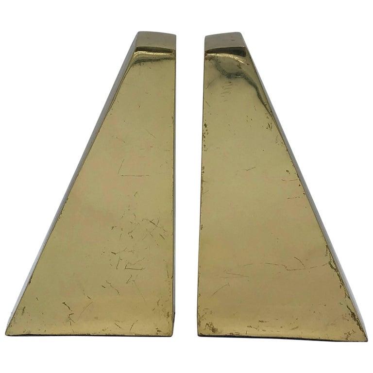 1960s Italian Brass Modern Sculptural Bookends, Pair