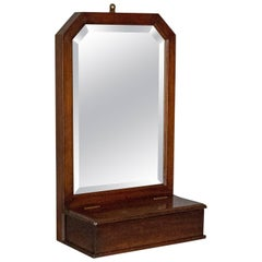 Antique Wall Mirror Valet, English, Hall, Glove Box, Victorian, circa 1890