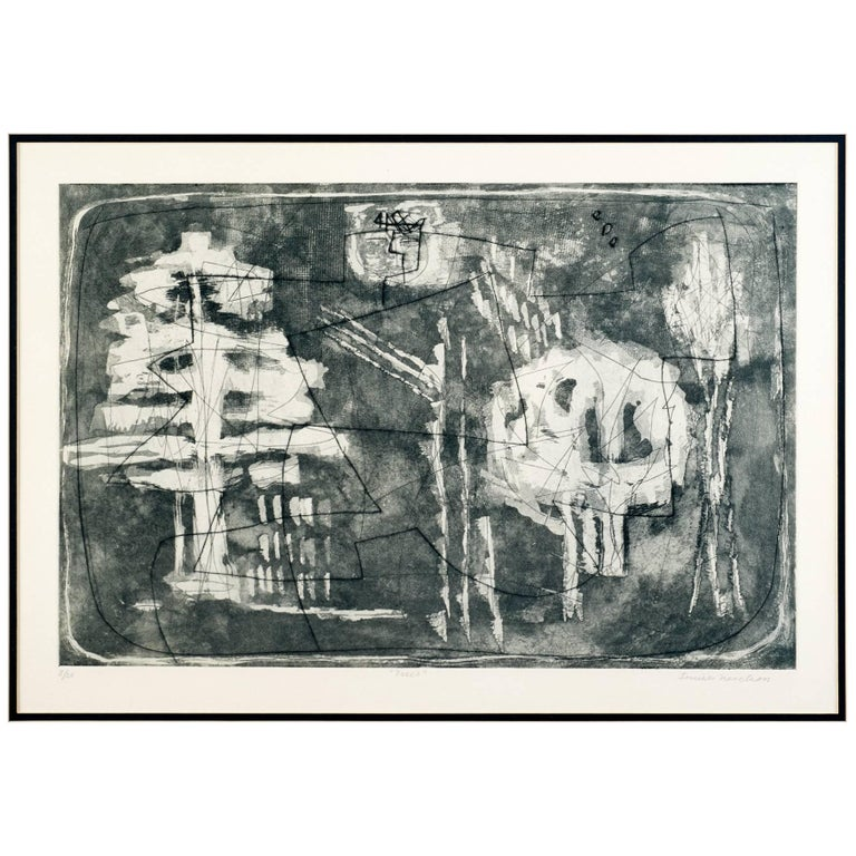 Louise Nevelson, Limited Edition Poetic Black and Grey Etching with Aquatint