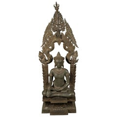 Large Old Cambodian Bronze Temple Buddha