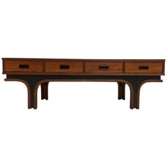 Gianfranco Frattini Style Low Table, Credenza in Rosewood, Birch & Leather 1960s