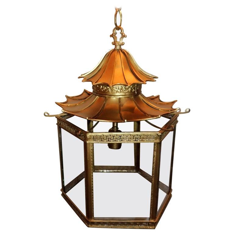 Wonderful French Gilt Bronze Pagoda Chinoiserie Octagonal Glass Lantern Fixture