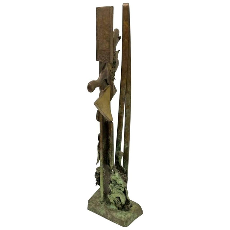 1960s Allegory of Man Midcentury Brutalist Bronze Sculpture