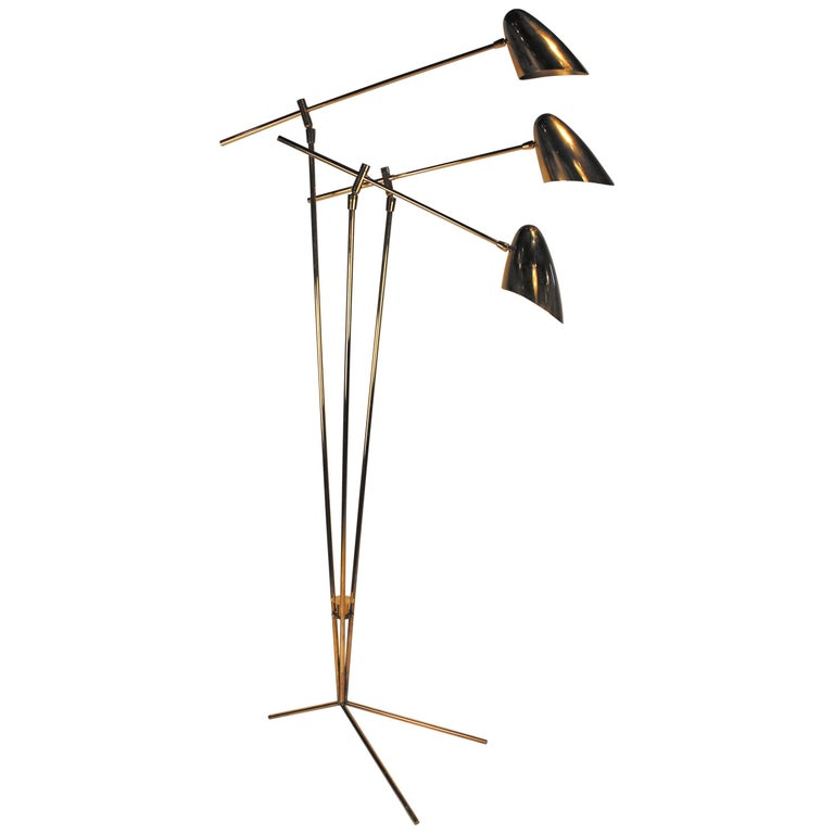 David Weeks Model '303' Articulated Brass Floor Lamp For Sale
