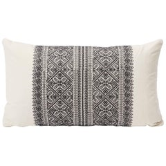"Schumacher Toledo Embroidered Bohemian Noir Black White Two-Sided 15""x26"" Pillow"