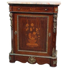 Figural Bronze Rosewood French Empire Style Marble Top Side Console Cabinet