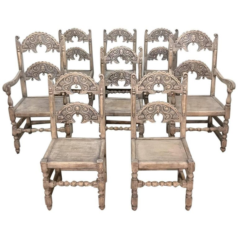 Set of Eight English Renaissance Stripped Chairs, with Two Armchairs
