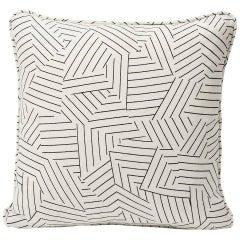 "Schumacher Miles Redd Deconstructed Stripe Black Two-Sided 18"" Linen Pillow"