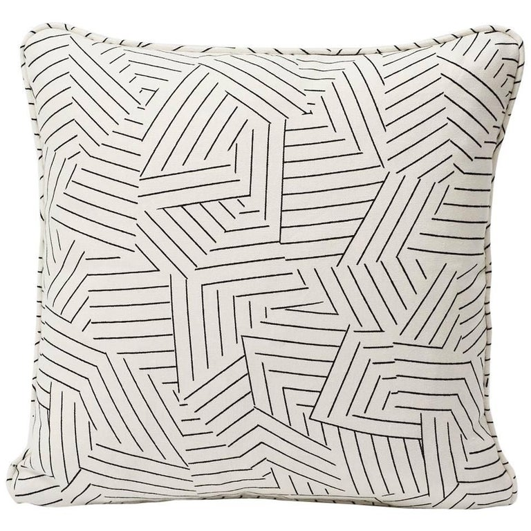 """Schumacher Miles Redd Deconstructed Stripe Black Two-Sided 18"""" Linen Pillow For Sale"""