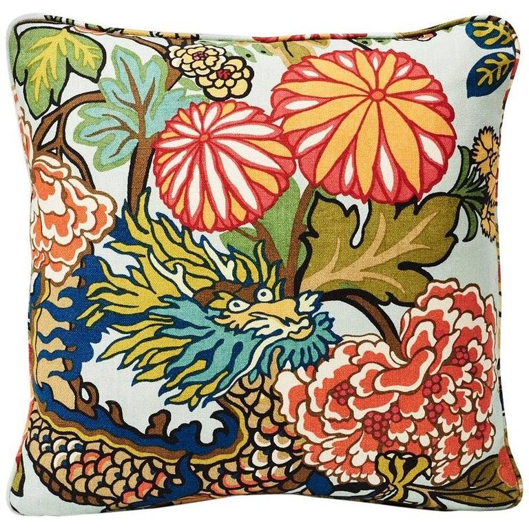 "Schumacher Chiang Mai Dragon Art Deco Aquamarine Blue Two-Sided 18"" Linen Pillow For Sale"