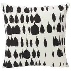 "Schumacher Queen of Spain Mid-Century Black White Two-Sided 18"" Cotton Pillow"