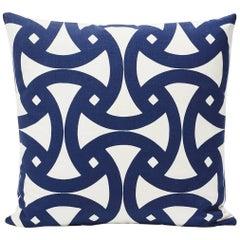 "Schumacher Santorini Indoor/Outdoor Geometric Marine Blue Two-Sided 18"" Pillow"