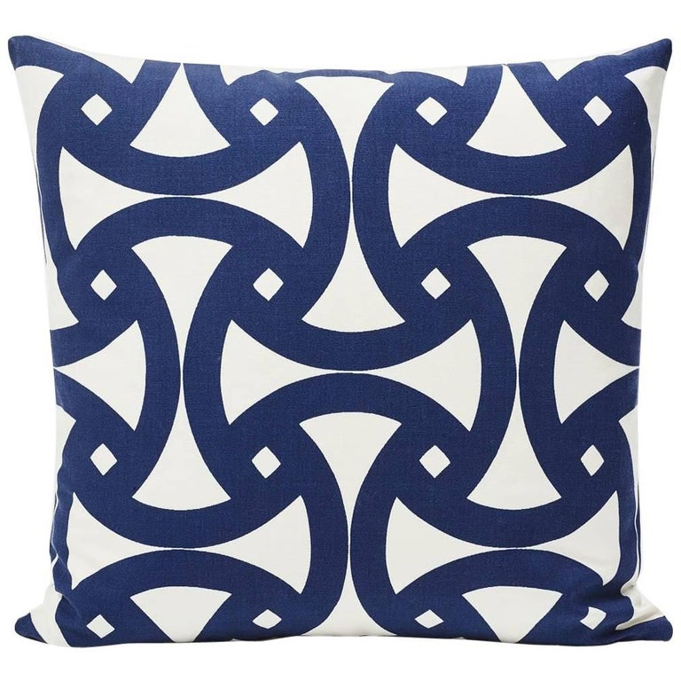 """Schumacher Santorini Indoor/Outdoor Geometric Marine Blue Two-Sided 18"""" Pillow For Sale"""